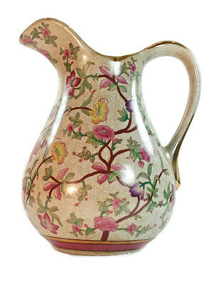 Vintage Antique Style Porcelain Pink Cream Jug Crackle glaze floral pattern 27cm