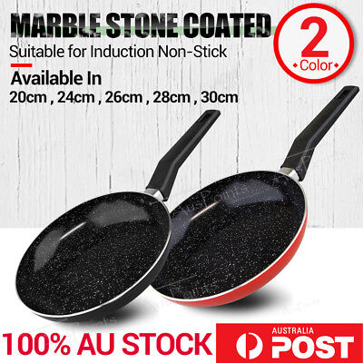 Marble Stone Red Ceramic Fry Pan- Induction Cookware Frying Pan Ceramic