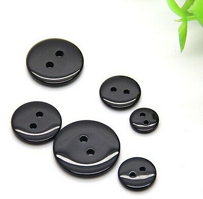 Black 100 PCS Free shipment Resin Button Fit for Sewing/Scrapbook 9-18mm