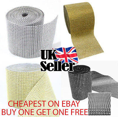1M Sparkly Diamond Diamante Effect Ribbon Clothes Cake Trim Bridal Sewing UK