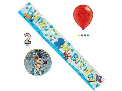 2nd Birthday Boy Party Pack - Banner, Balloons, Number Candle, Mega Badge