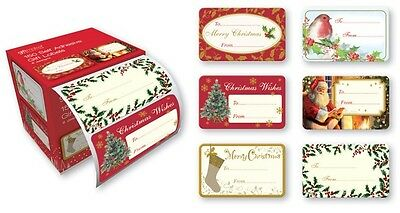 Pack of 150 Self Adhesive Christmas Gift Labels - 6 Traditional Designs