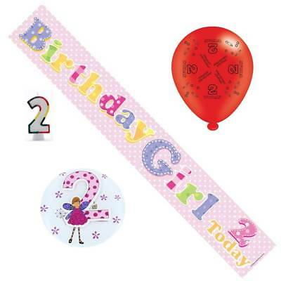 2nd Birthday Girl Party Pack - Banner, Balloons, Number Candle, Mega Badge