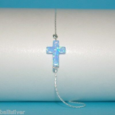 3 pcs 12x9mm Light Blue OPAL Sideways CROSS St. Silver 925 Chain BRACELETS Lot