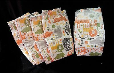 The Honest Co.,  Wild Animals print diapers for Reborn or baby doll, set of 5