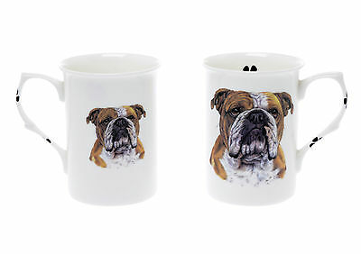 Hand Decorated Set Of 2 Bone China Beakers/ Mugs English Bulldog Gift Boxed