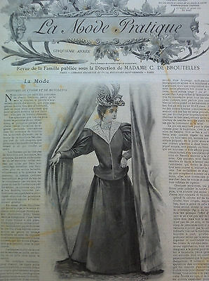 LAST ONE ! ORIGINAL MODE PRATIQUE  Sept 12,1896 +French  PRECUT SEWING PATTERN