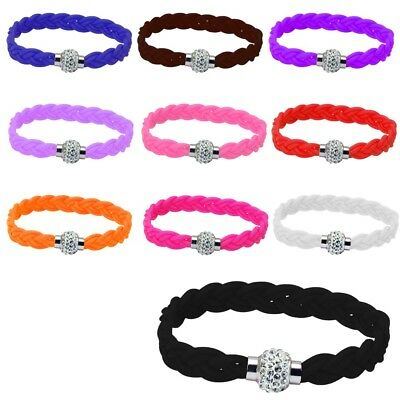 Shamballa Bracelet Magnetic Rhinestone Buckle Bangle SILICONE ROPE WRISTBAND