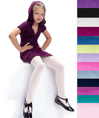Girls Ribbed Tights 100 Denier Soft Warm Natural Fibres Age 2-11 Knittex -AGATKA