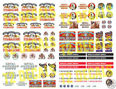 HO Scale Royal American Shows Circus Wagon Decals- HUGE 8.5 X 11 SHEET!