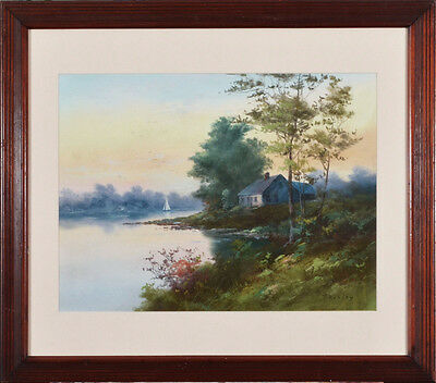 """A fine original landscape by Clarence Braley, """"Cabin by the Lake"""" signed, framed"""