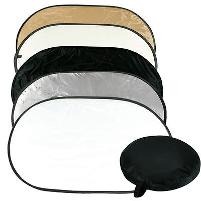 """5in1 Photo Light Multi Collapsible Reflector 24""""x36"""" Disc Reflector w/ Carry Bag"""