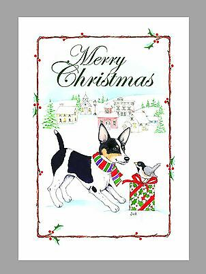 Rat Terrier Dog, Black & White Christmas Cards, Box of 16 Cards & 16 Envelopes