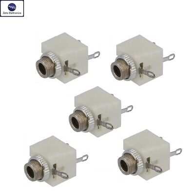 5PZ PRESA JACK MONO 3,5mm AUDIO CONNETTORE FEMMINA DA PANNELLO PER SPINA MASCHIO