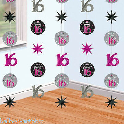Sweet Sixteen 16th Birthday Party Foil String Strings Hanging Decorations BA