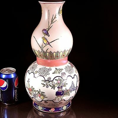 37 cm Chinese Import Double Gourd Vase Famille Rose Chrysanthemums Birds Antique