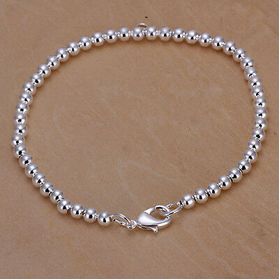 Womens Girls Silver Plated Gift Jewelry Solid Beads Bracelet Bangle 20CM*0.4CM