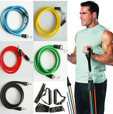 New P90x 11-pc Resistance Bands Exercise Latex Tube Workout Gym Fitness Yoga
