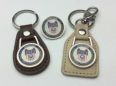 "NCIS ""Naval Criminal Investigative Service"" Agency Keyring, Real Leather - #A05"