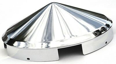 hub caps(2) front 4 even notch pointed cone chrome for Kenworth aluminum wheel