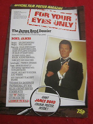 JAMES BOND FOR YOUR EYES ONLY BRITISH MOVIE POSTER MAGAZINE 1981 ROGER MOORE