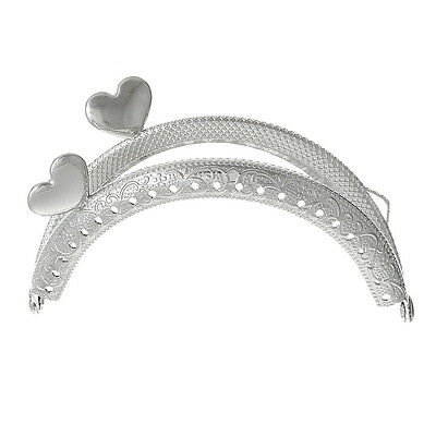 HX 1PC Metal Frame Kiss Clasp Arch For Purse Bag Silver Tone Heart Pattern
