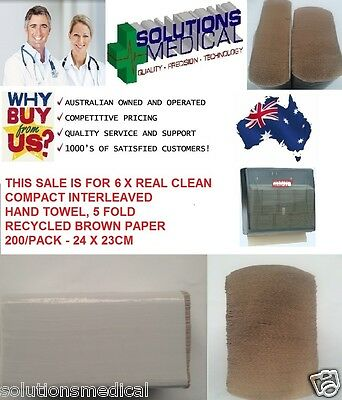 INTERFOLDED HAND PAPER TOWELS 200/PACK HANDY STRONG ABSORBENT REAL CLEAN x6