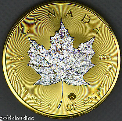 Special Gilded 2014 Canadian Maple Leaf 1 oz Silver Coin .9999, 24K Gold Reverse
