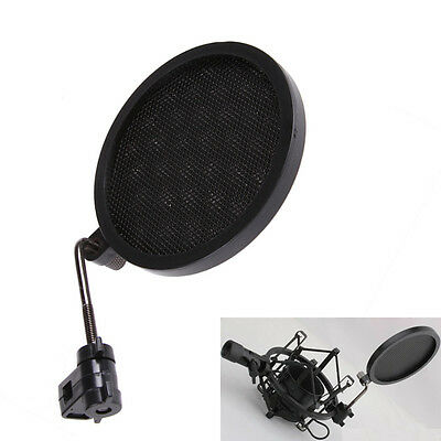 Mic Wind Screen Mask Gooseneck Shied Pop Filter for Microphone Shock Mount Black