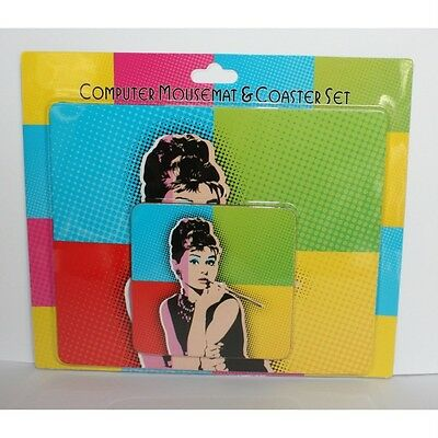 Wholesale Job Lot 12 Mouse mats Pad & Coaster Gift Sets Audrey Hepburn Pop Art