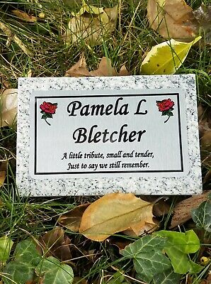 Small Personalised Grey Granite Memorial Grave Plaque Stone Any Wording Inc