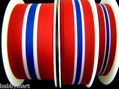Red White Blue Norway Luxemberg National Patriotic Tricolour Ribbon Norwegian