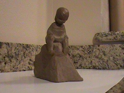Haeger  M Strubel Sculpture Child/Girl Sitting On A Rock
