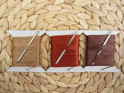VERY STRONG 3/4mm THICK LEATHER SEWING THREAD FOR HAND STITCHING + 2 NEEDLES 15m