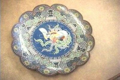Exquisite Oriental Finely Detailed Cloisonne Mythological Bird Plate A36