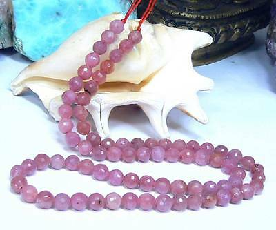 NATURAL HAND FACETED PINK RUBY RUBIES ROUND BEADS 104ct 15.75 STRAND 5mm