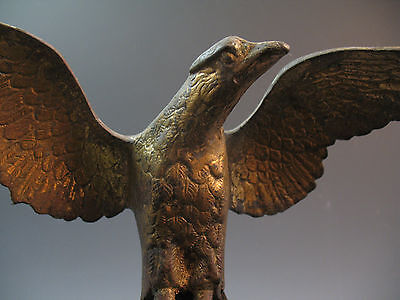 Antique 19th century American Gilt Bronze Eagle Figure Statue Flag Pole Federal