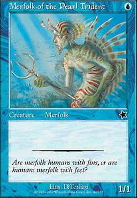 MTG 4x Lightly Played, English Merfolk of the Pearl Trident Starter 1999 Magic