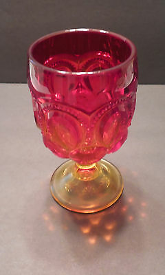 "LE Smith Moon And Stars Red Large 5 7/8"" Tall Water Depression Glass"