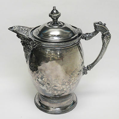 IMPRESSIVE c. 1868 ORNATE MERIDEN BRITANNIA CO. CERAMIC LINER ICE WATER PITCHER