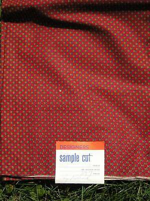 Vintage Fabric Marcus Brothers Old Store Stock Red Designer Sample 3 yards