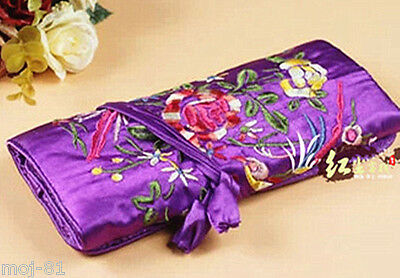 Silk Brocade Travel Roll Bag Purple color Blossom Jewelry Pouch Fashion Gift