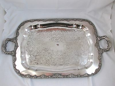 """Vintage National Silver Co. King Edward Silverplate 25"""" Butler Serving Tray NR!!"""
