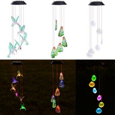 Solar Power LED Wind Chime Light Color Changing Home Garden Wedding Xmas Decor