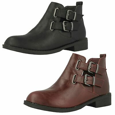 H5035- Girls SpotOn Girls Ankle Boots 2 Colours- Burgundy&Black.