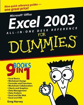 Excel 2003 All-in-one Desk Reference for Dummies, Harvey, Greg Paperback Book