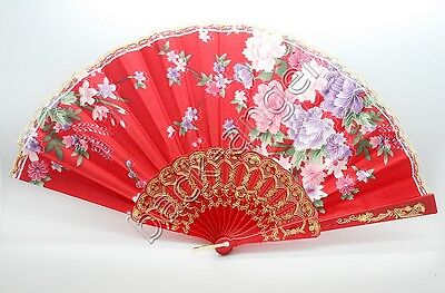 Chinese Japanese Folding Foldable Flower Print Silk Classic Hand Fan