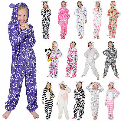 Girls Hooded Fleece All In One Piece Pyjamas Jump Sleep Suit PJ Nightwear New