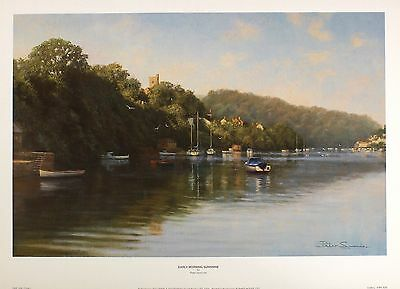 "PETER SYMONDS ""Early Morning Sunshine"" estuary BOATS! SIZE:35cm x 54cm  RARE"