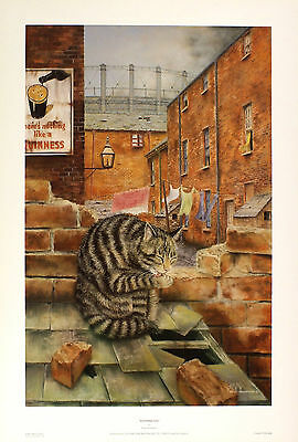 """PAUL YEOMANS """"Washing Day"""" tabby cat BROWSE OUR SHOP! SIZE:51cm x 33cm  RARE"""